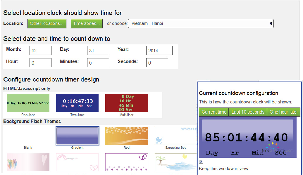 Tạo đồng hồ đếm ngược cho web